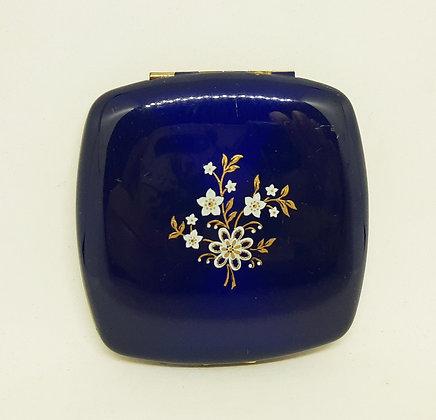 Vintage MELISSA Square Compact Cobalt Blue Delicate Floral