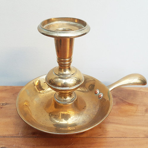 Large Vintage Brass Chamberstick Candle Holder