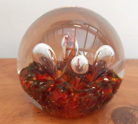 """Caithness """"Moonflower"""" Lava Paperweight Signed"""