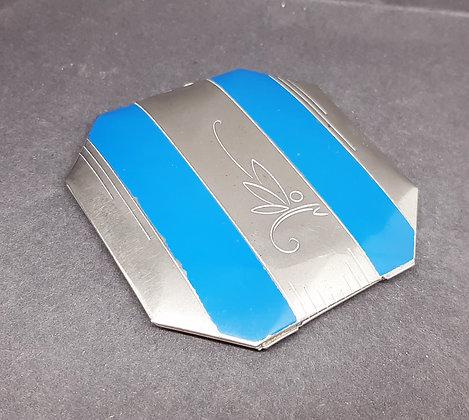 Art Deco Czech Powder Compact Silver/Blue Butterfly