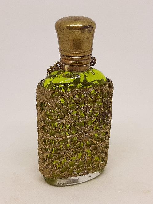 Gilt Filigree Cased Green Glass Scent Bottle