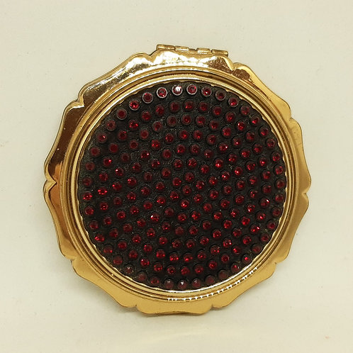 Stratton Princess Shimmering Red Rhinestone Powder Compact