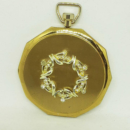 1950s Stratton Goldtone Fob Pocket watch Compact Diamante Wreath