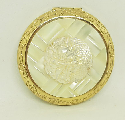 1950s Mother of Pearl Carved Dragon Powder Compact