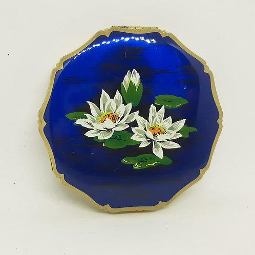 Kigu Blue Enamel Lotus Flower Compact