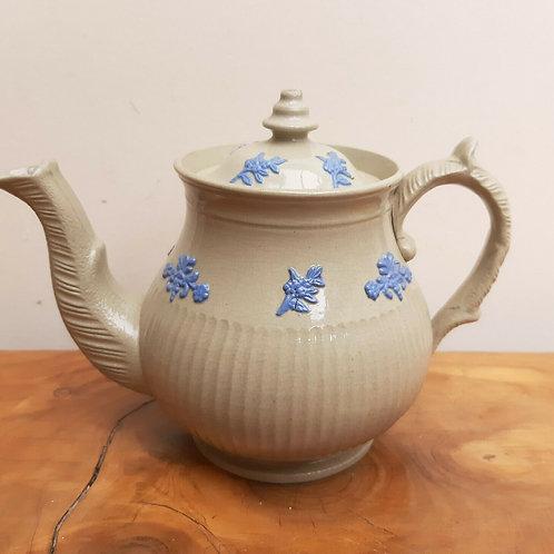 19thC Drabware Childs Miniature Teapot Sprigged