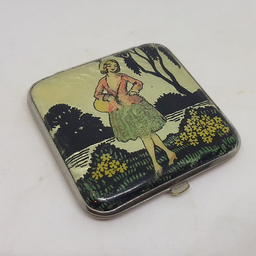 1930s Souplex Foil Compact Girl with Basket