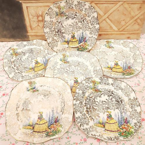 Morley Ware Crinoline Chintz x6 Tea Plates