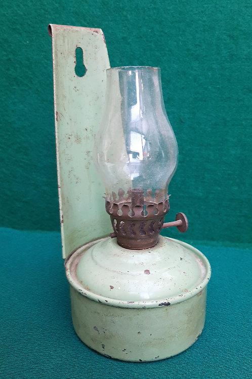"""Vintage Green Enamel """"Privvy"""" Lamp"""