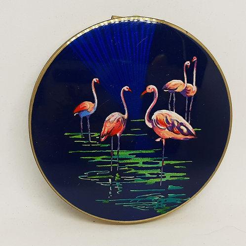 1950s Stratton Pink Flamingo Blue Enamel