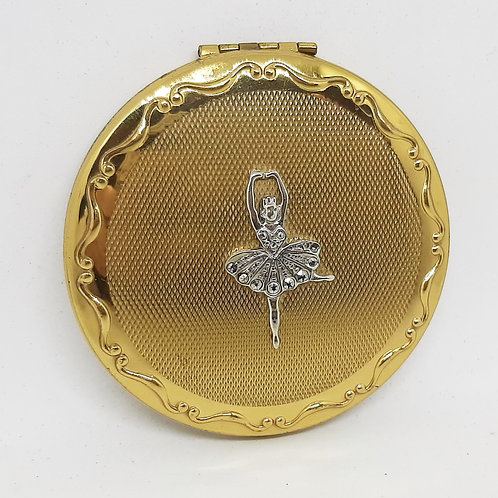 Beautiful KIGUPowder Compact Silver Marcasite Ballerina