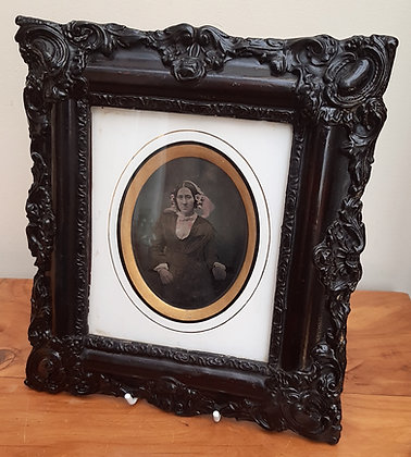 Gutta Percha Framed Tinted Ambrotype of a Lady