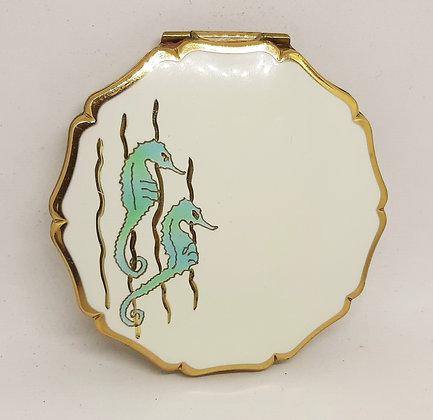 Stratton Queen Convertible White Enamel Seahorse Compact