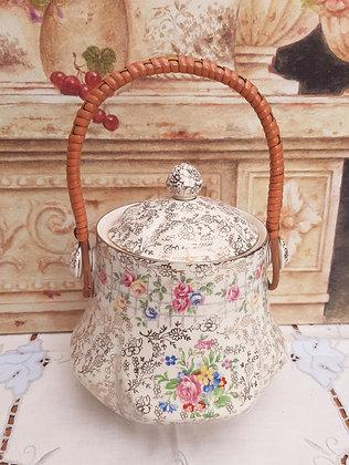 James Kent Trellis Rose Chintz Biscuit Barrel Jar