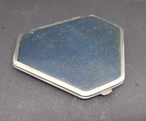 Unusual Truncated Navy Leather Chrome Compact