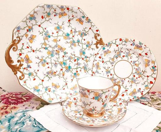 Royal Stafford China Tea Quartet Trio Painted Butterflies