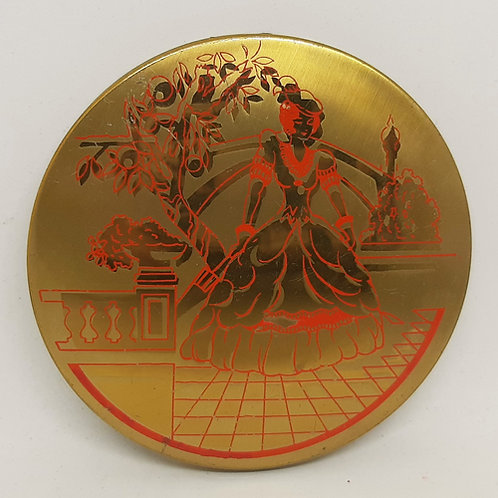 Vintage Stratton Muffin Compact Gold & Red Lady on Terrace