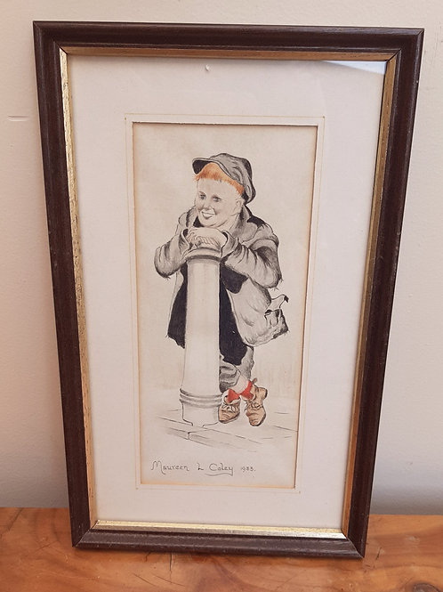 Maureen L Coley Original Watercolour Cheeky Lad leaning on a Bollard
