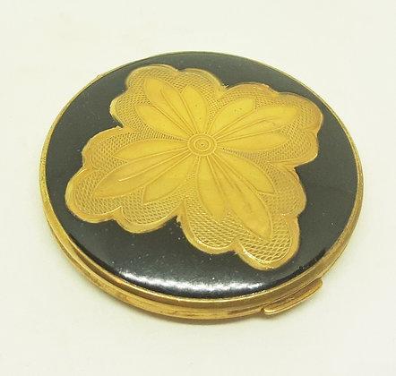 Melissa Loose Powder Compact Black Enamel Gold Flower