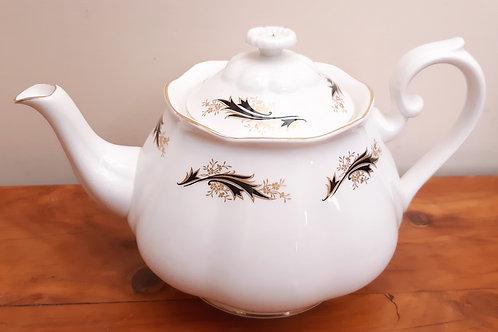 Richmond Bone China Teapot Black & Gold Flourish