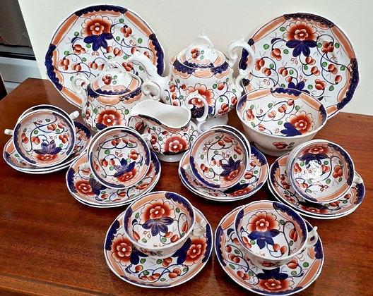 "Early Victorian Gaudy Welsh/Dutch ""Vine"" Tea Service"