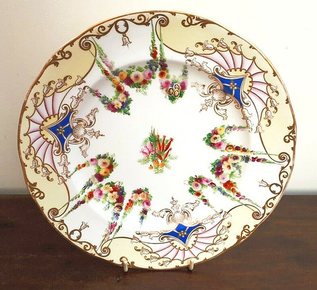 Copeland & Garrett Cabinet Plate c1840 Floral Swags, Fans & Jewelled Decoration