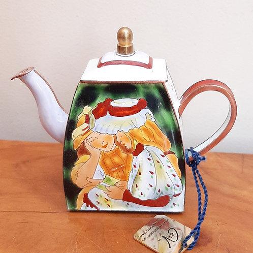 Charlotte Di Vita Miniature Enamel Teapot Renoir Two Girls Reading