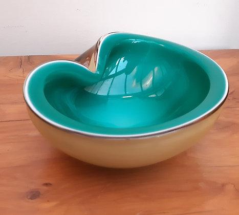 Murano Glass Geode Kidney Bowl Sommerso Green Amber
