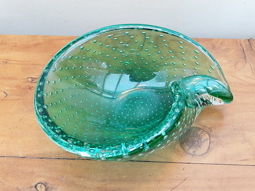 Mid-Century Controlled Bubble Teadrop Dish Green