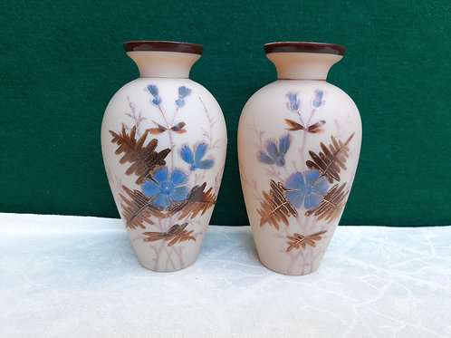Pair of Small Victorian Milk Glass Vases