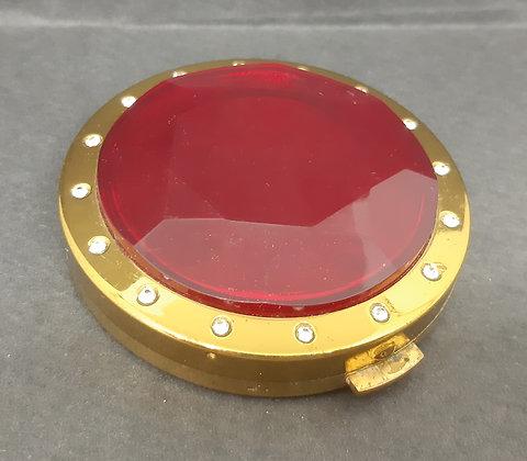 Large Faux Ruby & Diamante Porthole Style Powder Compact