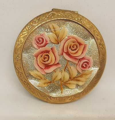Melissa Powder Compact Lucite Pink Roses Glittering Gold