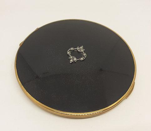 "1930's Stratton ""Flapjack"" Compact Black enamel Marcasite garland"