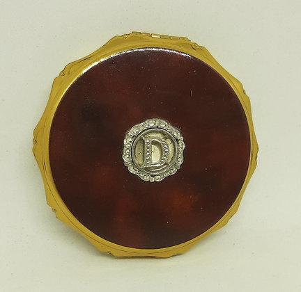 Kigu Powder Compact Mahogany Silver Initial D