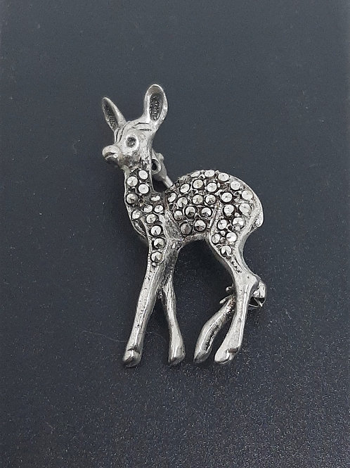 Sterling Silver Marcasite Fawn Brooch