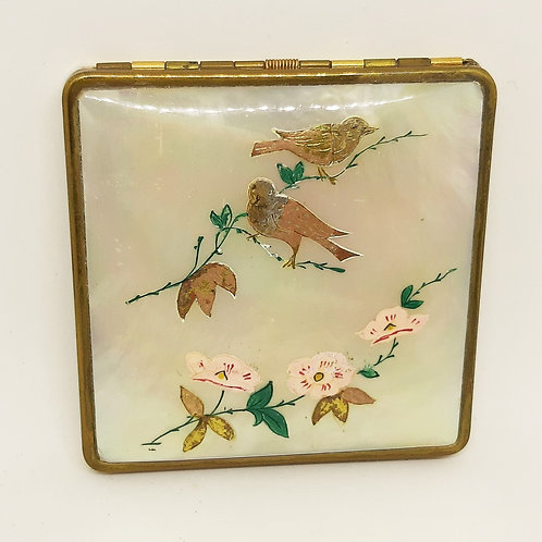 French Mireille Powder Compact MOP Bird Inlaid