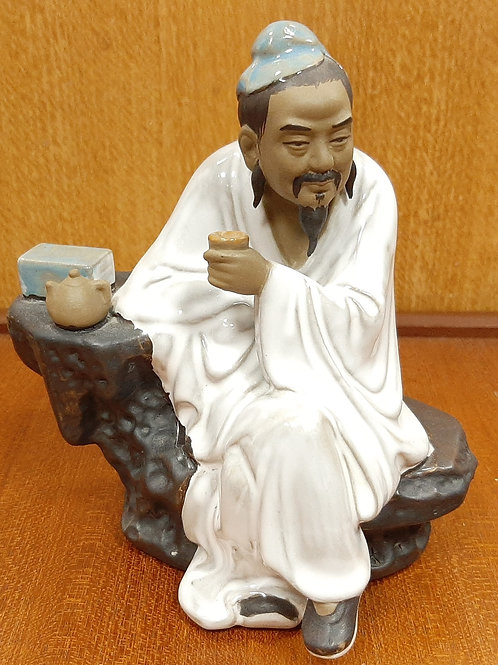 Chinese Shiwan Mudman Figurine Tea Drinker