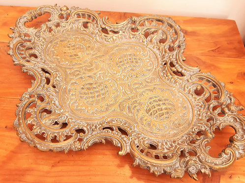 Decorative Antique French Brass Tray Roses & Scrolls