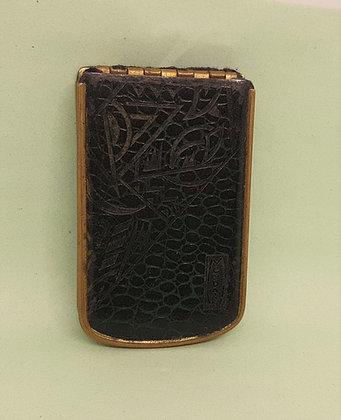 Art Deco Mondaine Leather Faux Croc Rouge/Powder Compact