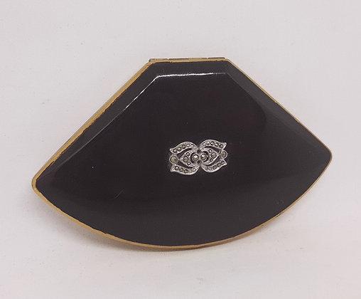 Lovely Melissa Fan Shaped Compact Black Enamel Marcasite