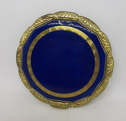 1940's Large  Blue Enamel & Embossed Brass Compact