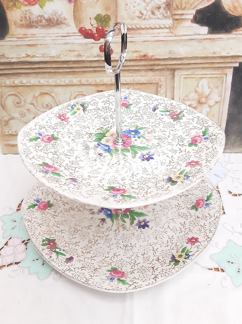Midwinter Floral Gold Chintz 2 Tier Cake Stand