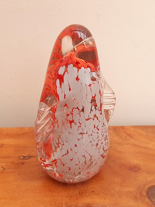 Wedgwood Art Glass Large Penguin Orange/Grey Mottled