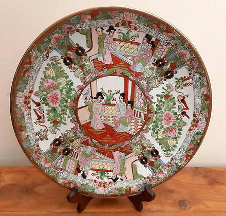 Vintage Chinese Famille Rose Medallion Charger