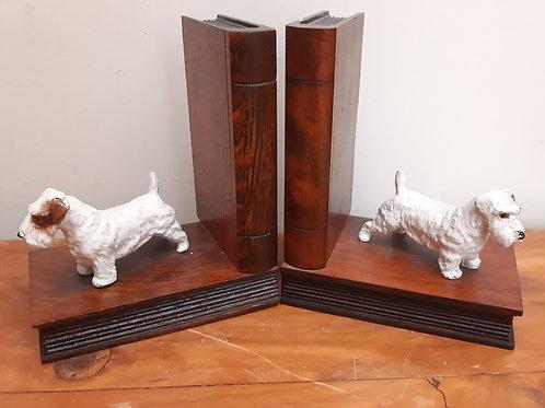 1930s Cast Metal Terrier Wooden Bookends