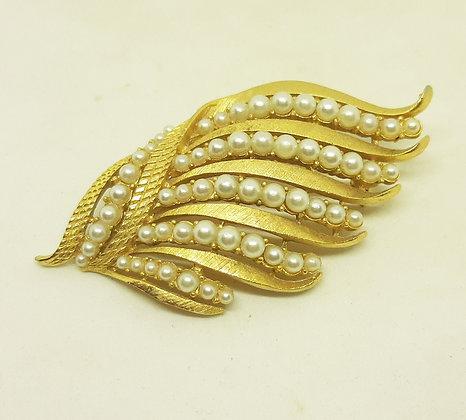 Vintage Corocraft Goldtone Faux Pearl Leaf Brooch