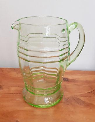 1930's Green Uranium Glass Lemonade Jug Pitcher