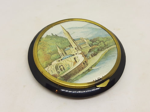 1930s French Bakelite Souvenir Compact Cathedral
