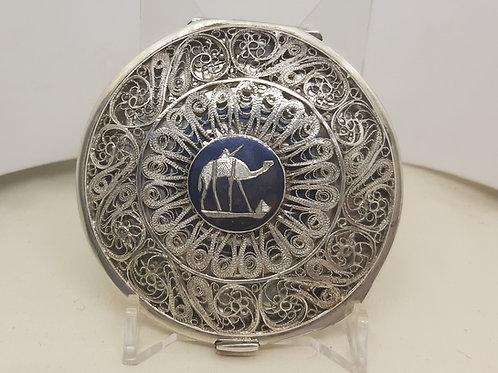 Silver Filigree Arabic Powder Compact Camels & Boats
