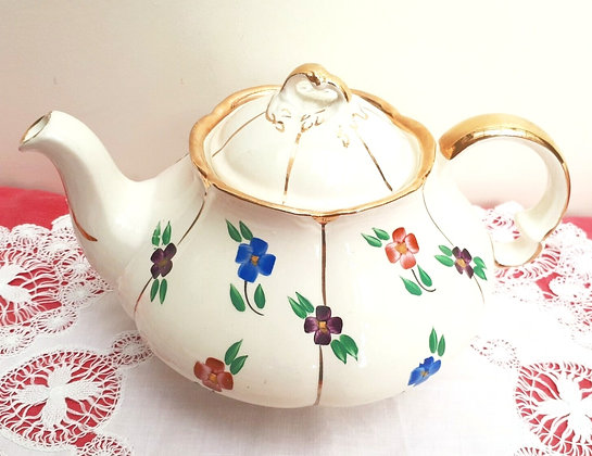 Ellgreave Pottery Teapot Painted Flowers Gold